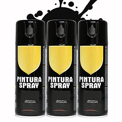 Pintura Spray 400ml para Metal/Madera/Plástico (Negro Brillo, 3 Botes)