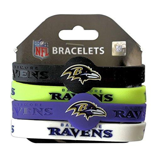 Aminco NFL Baltimore Ravens Silicone Bracelets, 4-Pack