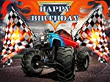 Monster Truck Backdrop, for Boy Theme, Birthday, Party, Decorations, Background, Photography, Banner, Photo Booth Props