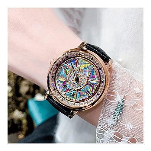 Relojes De Pulsera para Mujeres Reloj Giratorio Impermeable Movimiento De Cuarzo Cristal Reforzado con Minerales Espejo Correa De Cuero Caja De Acero Inoxidable Reloj De Mujer