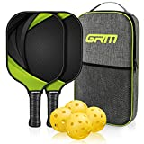 GRM Pickleball Paddles Set of 2, USAPA Approved Graphite Pickleball Set Lightweight Pickleball Racket, 2 Pickleball Paddles and 4 Balls Including Portable Carry Bag