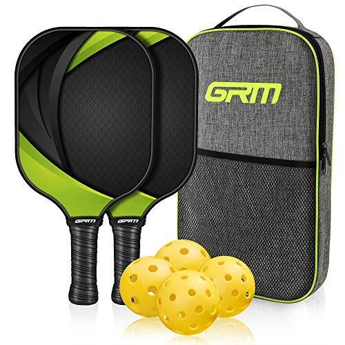 GRM Pickleball Paddles Set of 2 Graphite Pickleball Set Lightweight Pickleball Racket, 2 Pickleball Paddles and 4 Balls Including Portable Carry Bag