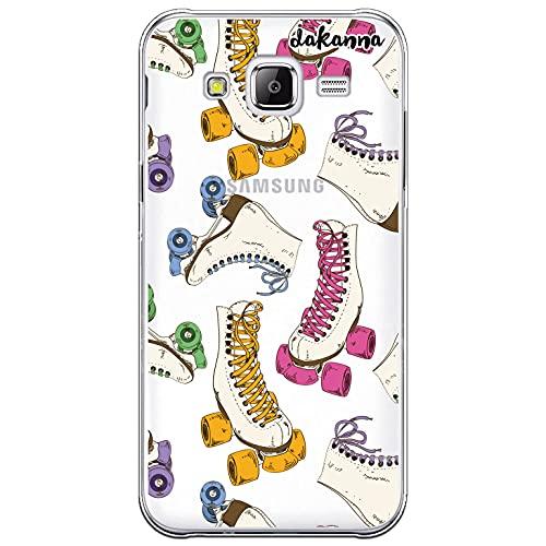 dakanna Funda Compatible con [ Samsung Galaxy J5 ] de Silicona Flexible, Dibujo Diseño [ Patrón Patines Retro ], Color [Fondo Transparente] Carcasa Case Cover de Gel TPU para Smartphone