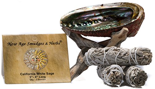 Smudging Kit - 3 California White Sage Smudging Wands (Salvia Apiana) with Beautiful Natural 5 in - 6 in Abalone Shell, Kit Includes Natural Wooden Cobra Tripod Stand - Sage Sticks - 3'' - 4