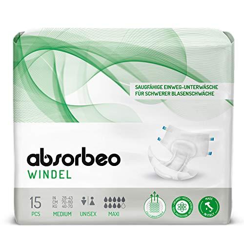 Absorbeo - Windel Maxi – Saugfähige Einweg-Unterwäsche für Schwerer Blasenschwäche, Unisex, Größe M (15 Stück pro Packung)