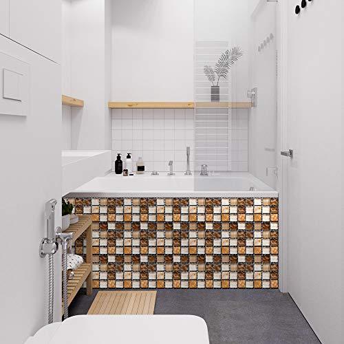 Azulejos de pared de mosaico 3D, papel tapiz de pegatinas de pared de película brillante recubierto de PVC, decoración autoadhesiva extraíble habitación cocina baño 20cm*20cm 10 piezas JHXC147