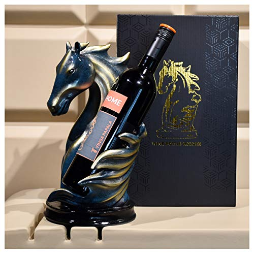 Porta vino in legno da banco, supporto pieghevole per bottiglie di vino da tavolo, supporto per bottiglie di vino da esterno, per armadi da cucina a casa, colore: blu