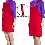 Diealles Kochschürze, Schürze Küchenschürze mit Bindeband und Verstellbare Nackenschlaufe für Frauen Männer Chef, 71 × 66 cm, Rot - 6