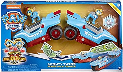 Spin Master Paw Patrol - Mighty Pups Super Paws - Mighty Twins 2-in-1 Power Split Vehicle de Spin Master