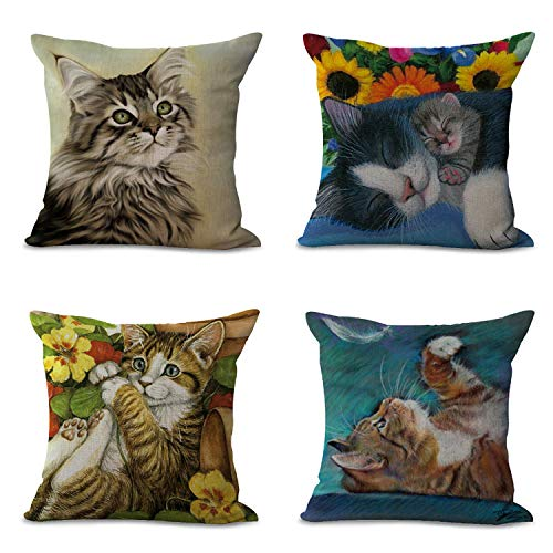 Hengjiang Cushion Covers Pads 18x18 inch/45cmx45cm Oil Painting Style Creative Fantasy Cat Pattern Blue Pink Red Black Cotton Linen Cushion Cover 4 pieces