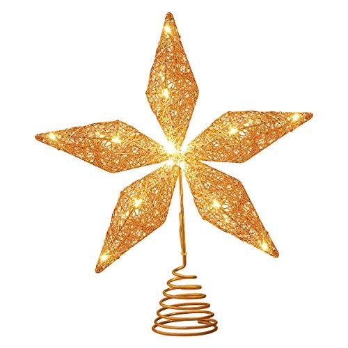STOBOK Albero di Natale topper stella oro rosa glitter ferro luci Natale corona lampada decorazione festa casa centro commerciale albero decorazione 11,6 x 10 2 pollici