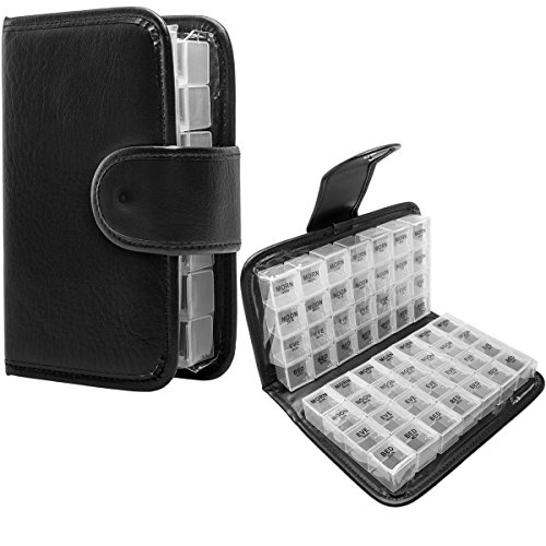 Simply Genius Black 14 Day Daily Pill Organizer, Travel Pill Case, Medicine Container, AM PM, Day and Night, Weekly Pill Box Organizer