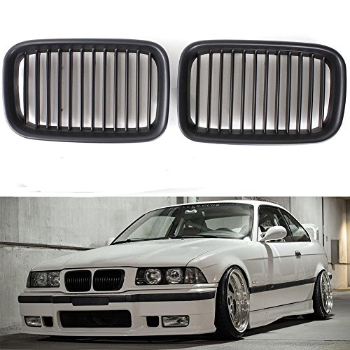 i-Shop Paire de grilles de calandre avant sport pour E36 M3 Série 3 92–96 Noir mat