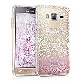 kwmobile Hülle kompatibel mit Samsung Galaxy J3 (2016) DUOS - Handyhülle - Handy Case Indische Sonne Violett Weiß Transparent