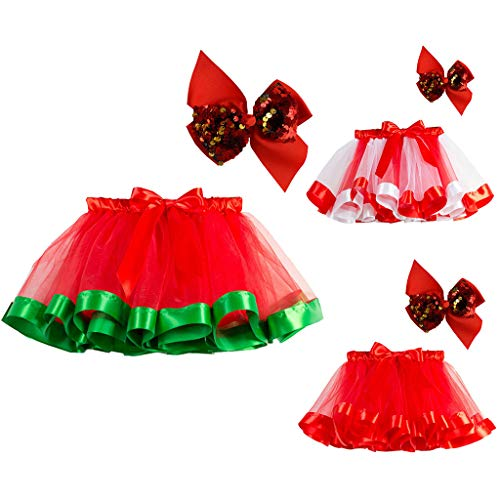 Onemopie Kids Girls Tutu Christmas Costume Sets for Girls 2-11 T,Party Dance Ballet Toddler Costume Skirt+Sequins Bow Hairpin,Birthday Party Dance Photography Tutus