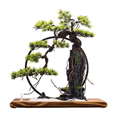 Bonsáis Artificial Bonsai Tree Decoración de escritorio Plantas de rocalla y luces LED Realista Interior Artificial Plantas verdes Adecuado para oficina de sala de estar Árbol bonsai ( Color : A )