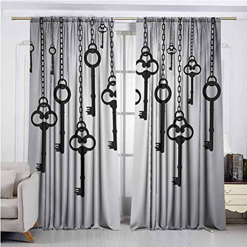 Antique Bedroom Blackout Curtains Silhouettes of Old Keys Hanging Chain Links Unlocking Security Home Opener Energy Efficient Rod Pocket Curtain Panel Pale Grey Black W48 x L108 Inch x2