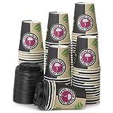 80 Vasos Desechables de Café Para Llevar - Vasos Carton 240 ml 8 Onzas con Tapas para Servir el Café, el Té, Bebidas Calientes y Frías
