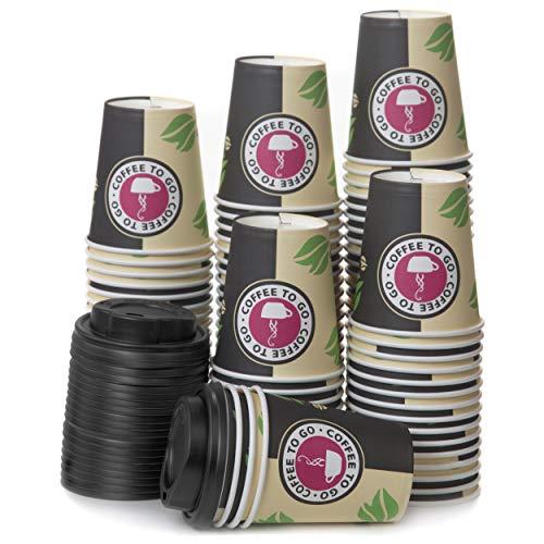 80 Pappbecher 240ml mit Deckel Coffee To Go - Kaffeebecher To Go Zum Servieren von Kaffee, Tee, Heißen und Kalten Getränken