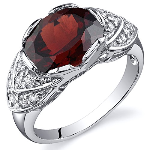 Peora Garnet Cocktail Ring Sterling Silver 3.25 Carats Size 6