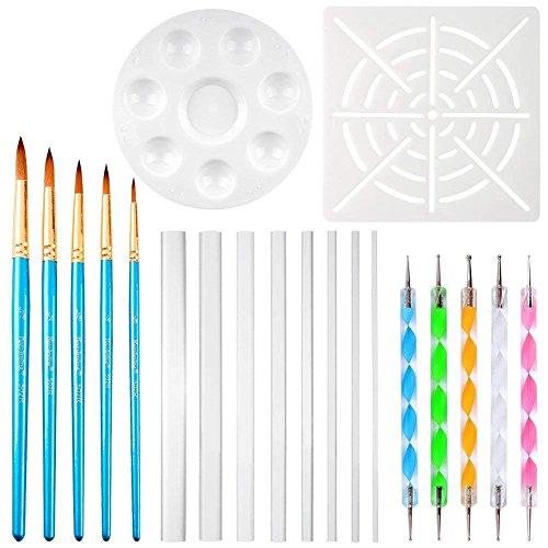 SINBLUE 20 Stücke Mandala Rock Malerei Stift Dot Punktierung Werkzeuge für Mandala Rock Malerei, Polymer Clay & Keramik Keramik Handwerk, Prägung Muster, Zeichnung & Drafting