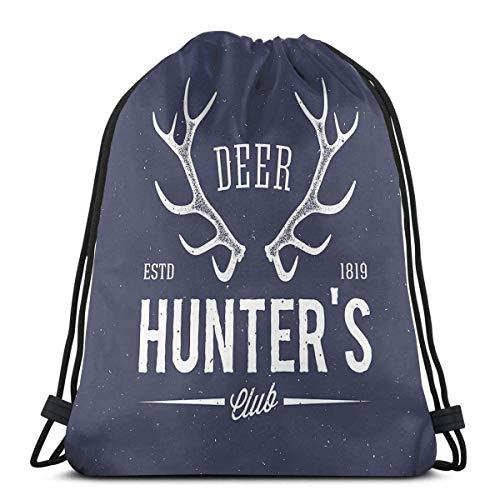 Kordelzug Rucksäcke Taschen, Deer Hunters Club Logo Design mit Geweih Retro Typografie Shabby Style Icon