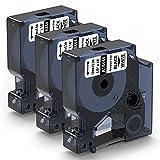 Aken Etiquetas industriales Compatible para Dymo Rhino 18444 Vinyl Cinta Blanco 12 mm x 5,5 m, repuesto para Dymo Cinta Vinilo Flexible para Dymo Rhino 4200,5200,5000, 6000,3000, Negro sobre Blanco