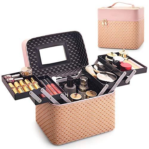 Mallette Maquillage Mallette Rangement avec Miroir Professionnel Valise Esthetiqué Coiffure Boîtes De Cosmétiques Matériau PU,Jaune