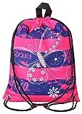 Aminata Kids - Kinder-Turnbeutel für Mädchen und Damen mit Fee-n Wand-deko Wand-Tattoo Blume-n Schmetterling-e Sport-Tasche-n Gym-Bag Sport-Beutel-Tasche rosa pink dunkel-blau Streifen…