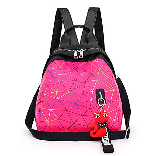 VICTOEFashion Wild Female Bag Quality Shell Diamond Candy Color Small Backpack Color Bright Personality Stripe Backpack durevole Travel Backpack, Rose Red (Rosso) - VICTOE-8622
