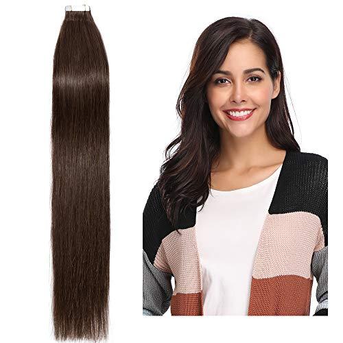 """20 Pcs Extension Adhesive Naturel Rajout Vrai Cheveux Humain Bande Adhesive Lisse (#04 Châtain, 22""""(55cm))"""
