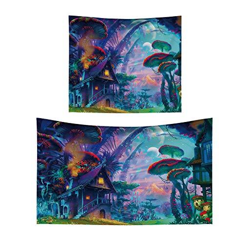 Fenteer 2pcs Wandteppich Abstrakte Digital Art Tapisserie Wand Picknik Decke Strand Tuch Wandtuch