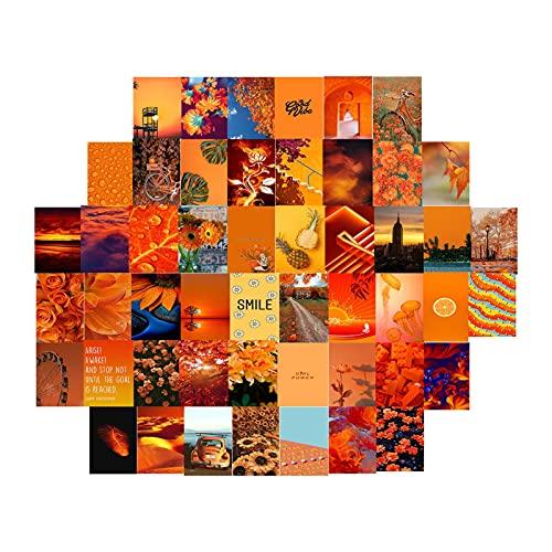 KDHJY 5 0PCS Hermoso Paisaje Postal Kit de Collage Moda Moda Bricolaje Boy y niña Habitación Dormitorio Decoración de Pared Decoración de Viaje Regalo (Color : Orange)