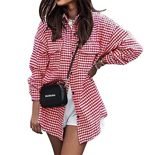 FeMereina Mujeres Botón abajo Camisas Houndstooth Loose Slim Fit manga larga solapa Cardigan Chaquetas Y2K Casual Streetwear Outwear, rosso, L