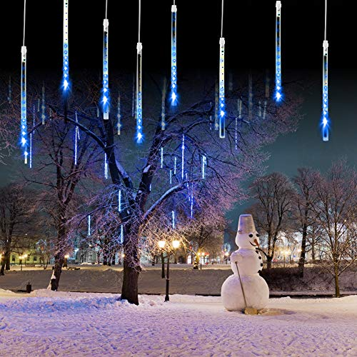 Meteor Shower Falling Rain Lights Christmas Lights 8 Tubes 192 LED Icicle Snow Falling Christmas Lights Outdoor Raindrop Lights, Xmas Wedding Party Tree Holiday Decoration Blue