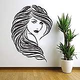 Tianpengyuanshuai Vinilo removible Etiqueta de la Pared Cabello Salón de Belleza Peluquería Etiqueta de la Pared Cara de la Mujer Decoración del hogar 58X80cm