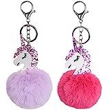 2pcs Rose + Violet Porte Clés Licorne avec Pompon Boule Porte Clefs Pendentif de Sac Cadeau Fête Anniversaire Noël pour Femme Fille