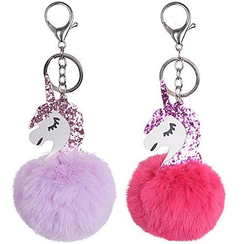 JNCH 2 Stk Einhorn Anhänger Schlüsselanhänger Taschenanhänger Plüsch PomPom Bommel Handtaschen Schlüsselanhänger Schlüsselbund Plüschbommel Unicorn Auto Schlüssel Tasche Telefon (Rosa + Violett)