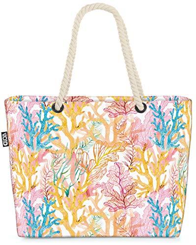 VOID Korallen Aquarell Strandtasche Shopper 58x38x16cm 23L XXL Einkaufstasche Tasche Reisetasche Beach Bag, Kissen Farbe:Rosa