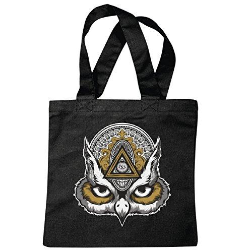 Tasche Umhängetasche Eule - Uhu - Owl - Haustier - Vogel - Fledermaus Einkaufstasche Schulbeutel Turnbeutel in Schwarz