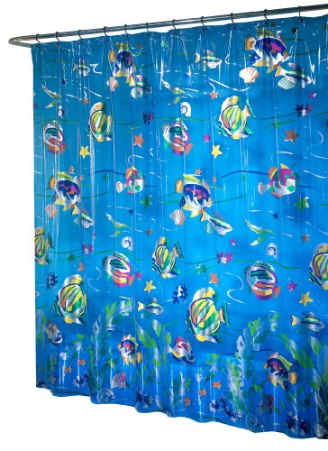 blue realistic underwater fish shower curtain