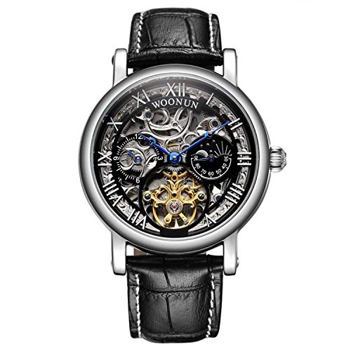 Men's Tourbillon Skeleton Automatic Wrist Watch Stainless Steel Leather Bands Blue Pointer Mechanical Watches for Men (Black)