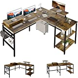 L Shaped Desk with Storage Shelve,79' Corner Computer Desk Gaming Desk with 2 Monitor Stand Shelf, Home Office Desk 2 Person Long Desk Table Study Writing Workstation with 3 Headphone Hook