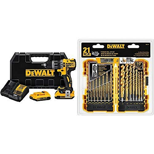 DEWALT DCD797D2 20V Max XR Tool Connect COMPACT Hammerdrill Kit with DEWALT DW1361 Titanium Pilot Point Drill Bit Set, 21-Piece