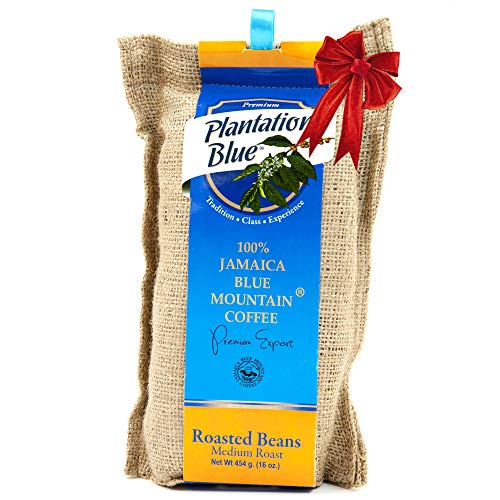 Authentic Jamaican Blue Mountain Coffee Beans, 100% Fresh Blue Mountain Coffee, Medium Roasted Whole Beans - 16 ounces (1lb)
