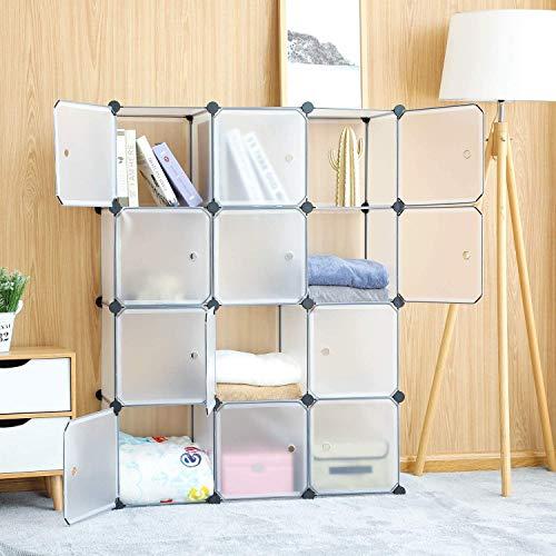 DIY Regalsystem Türen, Kleiderschrank Kunststoff, Kombischrank, Aufbewahrung Cube, Modularer Schrank für Kleidung, Schuhen Spielzeug und Büchern (Weiß -12 Würfel)