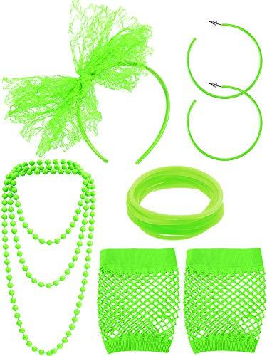 Blulu 80 Jahre Schick Kleid Kostüm Zubehör Spitze Stirnband Ohrringe Fischnetz Handschuhe Halskette Armband für 80 Jahre Retro Party (Fluoreszierend Grün)