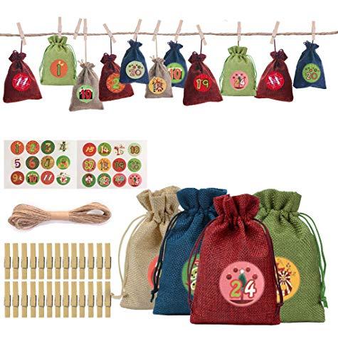 AstarFavor Adventskalender zum Befüllen,Adventskalender Säckchen Weihnachtskalender Geschenktüte 24 Stoffbeutel mit 1-24 Weihnachtlichen Aufklebern und 24 Klammer Geschenktüte zum Füllen,Dekoration.