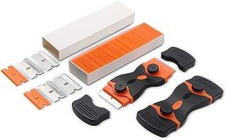 2 Pack Razor Blade Scraper,Double Edge Stickers Adhesive Remover Tool with 100 & 4 Pieces Refill Blades - Mini Razor Scrap...