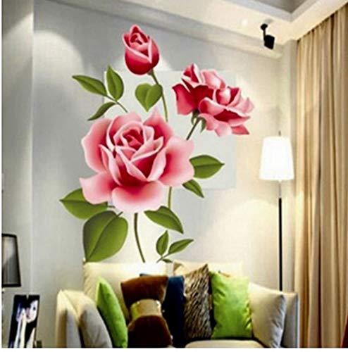 ZBYLL Wall Sticker romantische Liebe 3D Rose Blume Blüte Möbel Wohnzimmer TV Dekoration Wall Sticker Home Decor Aufkleber Kunst